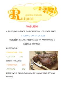 Fiorentina-Costata Party v Rutinci - Sobota 14.04.2018